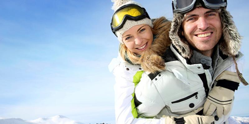 skiing having fun